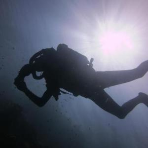 Arto rebreather diving in Bunaken after his IDC