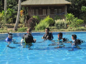 IE in our pool in Bunaken